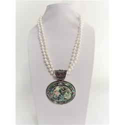 Colier Dama cu Perle Sintetice si Pandantiv cu Sidef Abalone