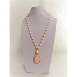 Colier Dama cu Perle de Cultura Ovale si Cuart Roz