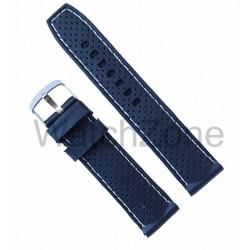 Curea ceas silicon negru cu puncte si cusatura alba 22mm
