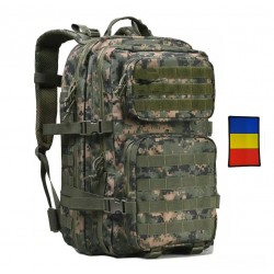 Rucsac militar, verde camuflaj, 45L, 600D polyester, steag tricolor