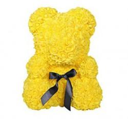 Ursulet Decor Realizat cu Trandafiri Galbeni din Spuma, 35cm