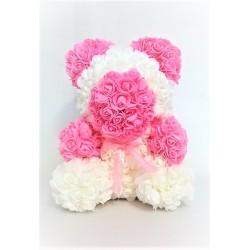 Ursulet Decor Realizat cu Trandafiri Roz si Alb din Spuma, 35cm