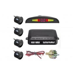 Senzori de Parcare Profesionali, Display LED, Auto, 4 Senzori, Detectare Puternica, Negru + Freza de gaurit