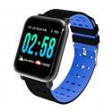 Ceas Smartwatch Techstar® A6, 1.3inch, Bluetooth 4.0, Monitorizare Tensiune, Puls, Oxigenare Sange, Alerte Sedentarism, Albastru