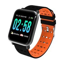 Ceas Smartwatch Techstar® A6, Bluetooth 4.0, Monitorizare Tensiune, Puls, Oxigenare Sange, Portocaliu