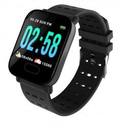 Ceas Smartwatch Techstar® A6, 1.3inch, Bluetooth 4.0, Monitorizare Tensiune, Puls, Oxigenare Sange, Alerte Sedentarism, Negru