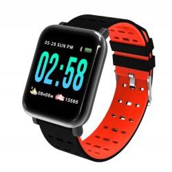 Ceas Smartwatch Techstar® A6, Bluetooth 4.0, Monitorizare Tensiune, Puls, Oxigenare Sange, Rosu