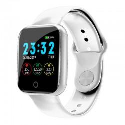 Ceas Smartwatch Techstar® I5, 1.3 inch LCD, Bluetooth 4.0 + EDR, Monitorizare Tensiune, Puls, Oxigenare Sange, Alerte Hidratare, Alb
