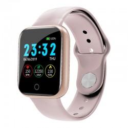 Ceas Smartwatch Techstar® I5, 1.3 inch LCD, Bluetooth 4.0 + EDR, Monitorizare Tensiune, Puls, Oxigenare Sange, Alerte Hidratare, Roz