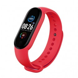 "Bratara Fitness Techstar® M5, Ecran 1.14"" inch TFT, Bluetooth 4.0, IP66, Tensiune, Puls, Oximetru, Alerta Sedentarism, Rosu"