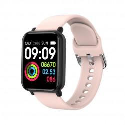 Ceas Smartwatch Techstar® R16, 1.3 inch IPS, Bluetooth 4.0 + EDR, Monitorizare Tensiune, Puls, Pasometru, Roz