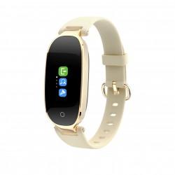 "Bratara Fitness Techstar® S3 Plus, Ecran 0.96"" inch, Bluetooth 4.0, IP66, Tensiune, Puls, Alerta Sedentarism, Elegant, Auriu"