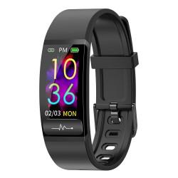 "Bratara Fitness Techstar® M8, Ecran 0.96"" inch, Bluetooth 4.0, IP66, Electrodiagrama ECG, PPG, Tensiune, Temperatura, Puls, Calitate Somn, Negru"