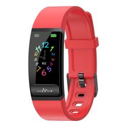 "Bratara Fitness Techstar® M8, Ecran 0.96"" inch, Bluetooth 4.0, IP66, Electrodiagrama ECG, PPG, Tensiune, Temperatura, Puls, Calitate Somn, Rosu"