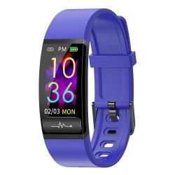 "Bratara Fitness Techstar® M8, Ecran 0.96"" inch, Bluetooth 4.0, IP66, Electrodiagrama ECG, PPG, Tensiune, Temperatura, Puls, Calitate Somn, Albastru"