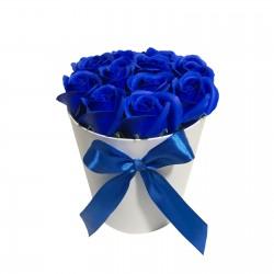 Cutie Rotunda Cu 11 Trandafiri Albastri