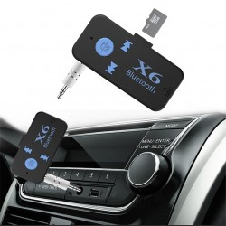 Receptor Car Kit Auto Stereo Bluetooth X6 cu Slot pentru Card, 3.5 mm aux, Negru