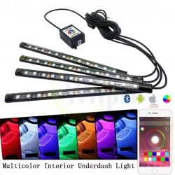 Kit Iluminare Auto LED RGB 22cm cu telecomanda, cablaj inclus