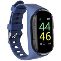 Bratara Smart Fitness cu Casti Bluetooth InEar Techstar® M1 Bluetooth 5.0, HD TFT, Incarcare USB, Greutate 36g, Control Touch, Incarcare Magnetica, Albastru