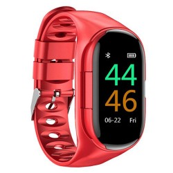 Bratara Smart Fitness cu Casti Bluetooth InEar Techstar® M1 Bluetooth 5.0, HD TFT, Incarcare USB, Greutate 36g, Control Touch, Incarcare Magnetica, Rosu