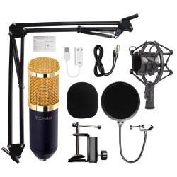 Microfon Profesional de Studio, Techstar® BM800 Condenser, Stand Inclus pentru Inregistrare Vocala, Streaming, Gaming, Podcast, Vlog, Gold