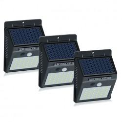 Set 3 lampi cu 30 LED, incarcare solara si senzor de miscare