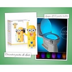 Dozator pasta de dinti Minions + Lampa LED pentru vasul de toaleta