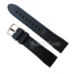 Curea ceas 20mm neagra cusatura albastra silicon