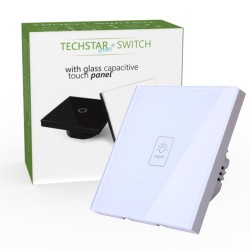 Intrerupator Touch Techstar® TG02, Sticla Securizata, Design Modern, Iluminare LED, 1 Faza, Alb