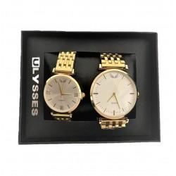 Set Ceas pentru Cuplu, El si Ea, Bratara Metalica Aurie si Cadran Alb
