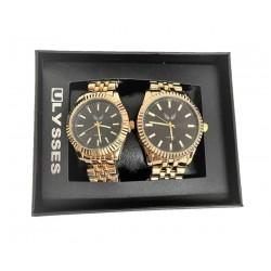 Set Ceas pentru Cuplu, El si Ea, Bratara Metalica Aurie si Cadran Negru