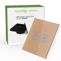 Intrerupator Touch Techstar® TG02, Sticla Securizata, Design Modern, Iluminare LED, 2 Faze, Auriu