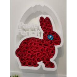 Figurina Personalizata cu Trandafiri de Sapun, din Polistiren, Iepuras de Paste, @JuniBelle