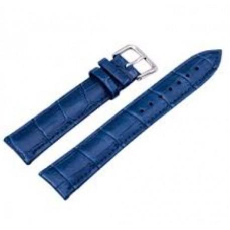 Curea pentru Ceas Piele Albastra, Lacuita, Imprimeu Crocodil, Catarama Argintie, 14mm
