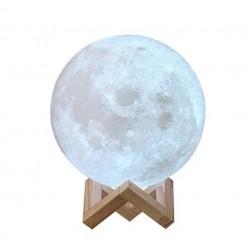 Lampa de Veghe Luna Imprimare 3D, LED Multicolor, Reincarcabila, Suport Lemn