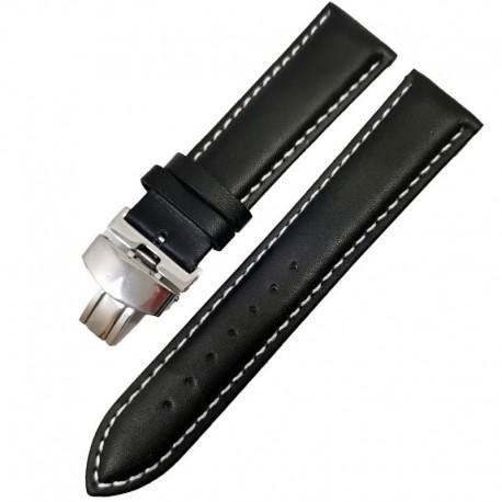 Curea ceas piele neagra+alb DEPLOYANT 12mm 14 mm 16 mm 18 mm 20 mm 22 mm 24 mm