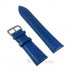 Curea Ceas Piele Naturala Albastra Imprimeu Crocodil 12mm - 26mm