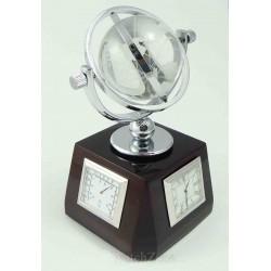 Ceas de birou cu glob cristal, termometru si higrometru