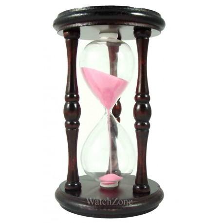 Clepsidra clasica din lemn cu nisip roz