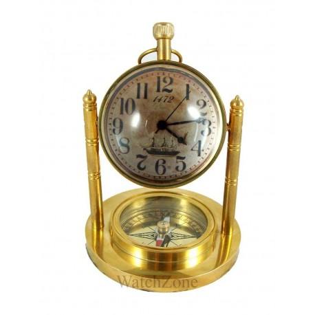Ceas de birou din bronz cu busola
