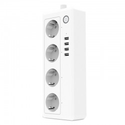 Prelungitor Priza Smart Techstar® A26, Wireless 2,4GHz, Smart Home, 4 Prize Individuale, 4 USB, Google Home, Amazon Echo, Alexa