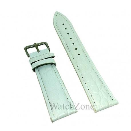 Curea ceas alba cu imprimeu din piele naturala 22mm