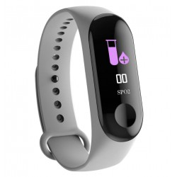 Bratara Smart Fitness Techstar® M3 Plus, Unisex, Monitorizarea Sangelui si Ritmului Cardiac, Pentru Android si iOS, Gri