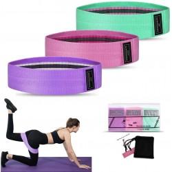 Set 3 Benzi elastice Fitness, 3 Niveluri de Rezistenta, pentru Coapse, Fesieri si Picioare + Saculet CADOU