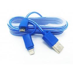 Cablu De Date 2 In 1 Iphone 5/6 + Micro Usb Albastru C174