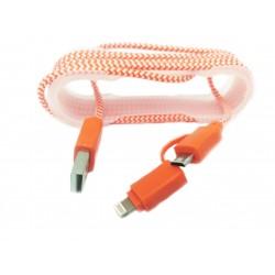 Cablu De Date 2 In 1 Iphone 5/6 + Micro Usb Rosu C173