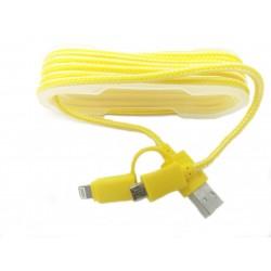 Cablu De Date 2 In 1 Iphone 5/6 + Micro Usb Galben C170