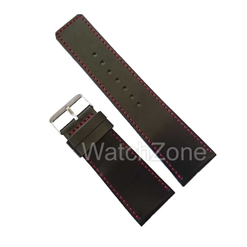 Curea Ceas 32mm Neagra Cusatura Rosie imagine techstar.ro 2021
