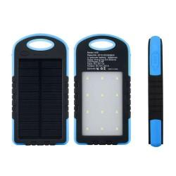 Baterie Externa Power Bank 5000 mah Incarcare Solara si Panou LED-uri C188