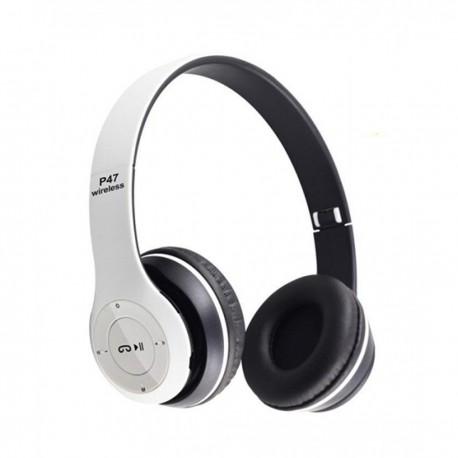 Casti wireless MRG P47 Alb cu bluetooth microfon C293